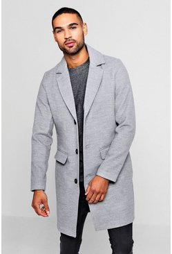 Single Breasted Wool Mix Overcoat, Grey, Uomo