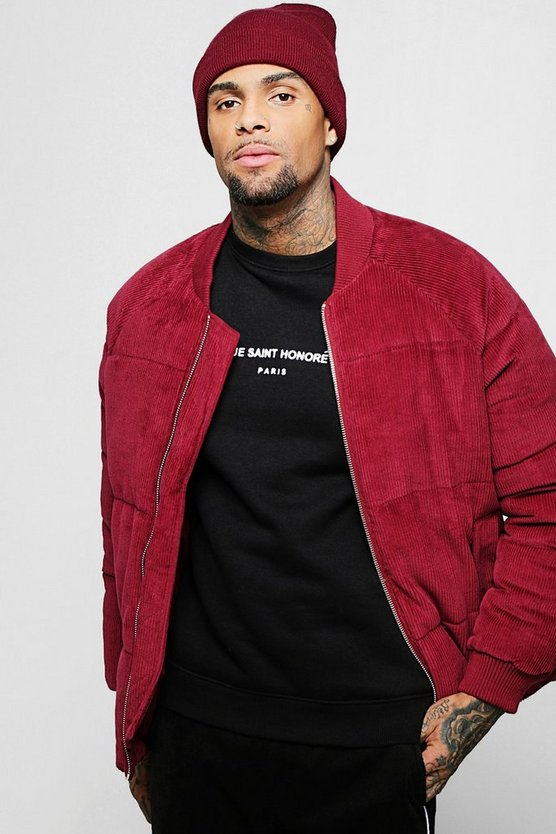 Burgundy Corduroy Puffer With Bomber Neck