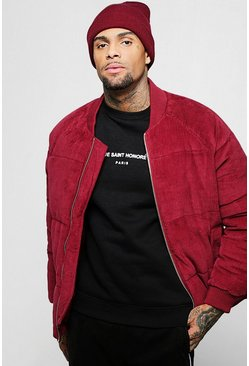 Mens Burgundy Corduroy Puffer With Bomber Neck