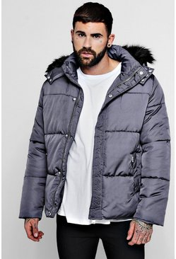 Mens Slate Popper Side Puffer With Faux Fur Trim Hood