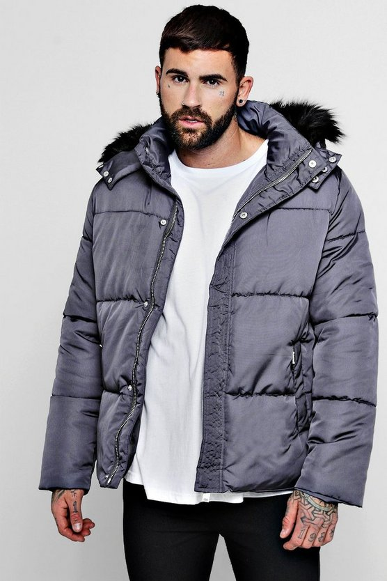 Popper Side Puffer With Faux Fur Trim Hood