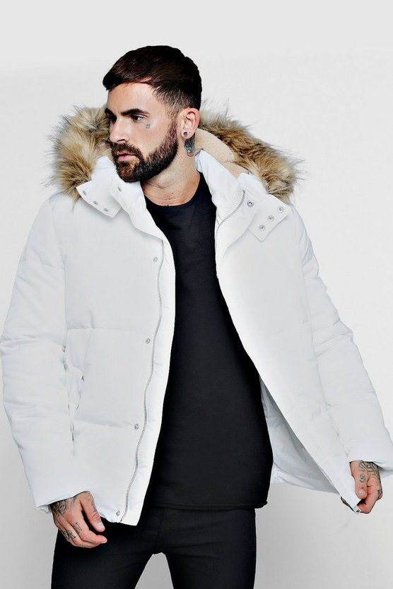 White Popper Side Puffer With Faux Fur Trim Hood