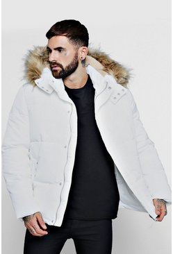 Mens White Popper Side Puffer With Faux Fur Trim Hood