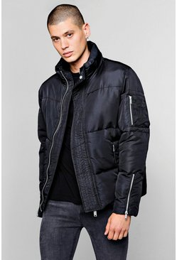 Mens Black Funnel Neck Zip Detail Puffer Jacket