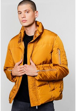 Mens Mustard Funnel Neck Zip Detail Puffer Jacket