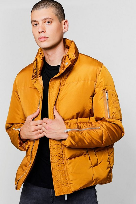 Funnel Neck Zip Detail Puffer Jacket