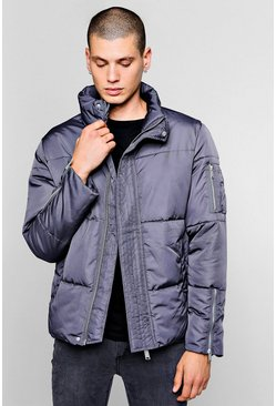 Mens Slate Funnel Neck Zip Detail Puffer Jacket