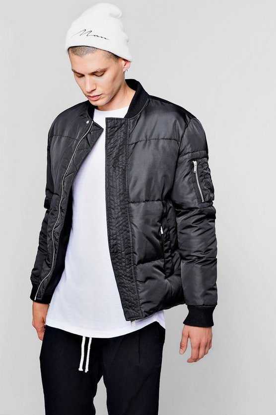 Mens Black Puffer Jacket With Bomber Neck