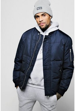 Mens Navy Puffer Jacket With Bomber Neck