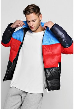 Mens Multi Funnel Neck Colour Block Puffer