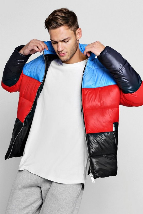 Funnel Neck Colour Block Puffer