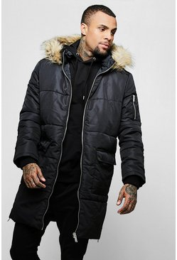 Mens Black Longline Puffer With Faux Fur Hood Trim