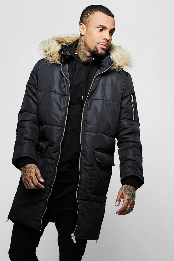 Longline Puffer With Faux Fur Hood Trim