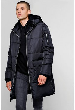 Mens Black Hooded Longline Puffer With Side Zips