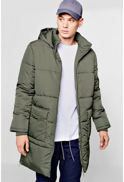 Mens Khaki Hooded Longline Puffer With Side Zips