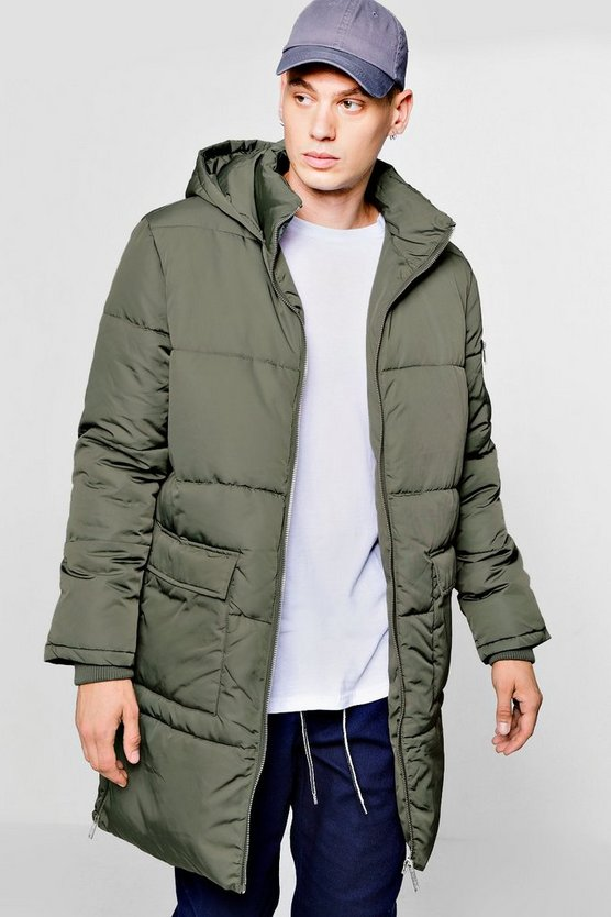 Mens Hooded Longline Puffer With Side Zips