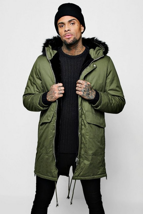 Mens Khaki Parka With Faux Fur Zip Hood & Zip Detail