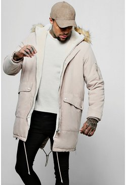 Mens Sand Peached Parka With Faux Fur Split Hood