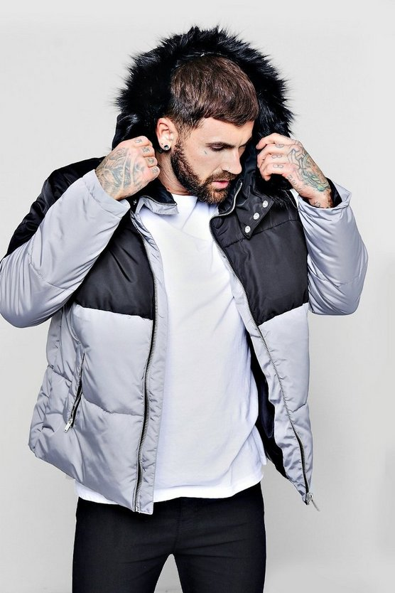Mens Black Colour Block Puffer With Faux Fur Trim Hood
