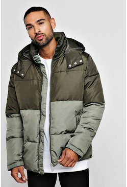 Mens Khaki Colour Block Puffer With Popper Sides
