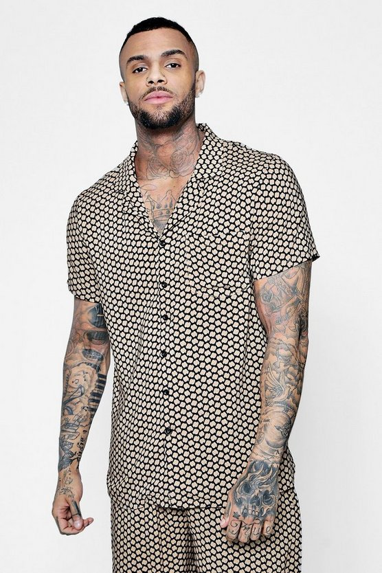 Tribal Print Short Sleeve Revere Shirt