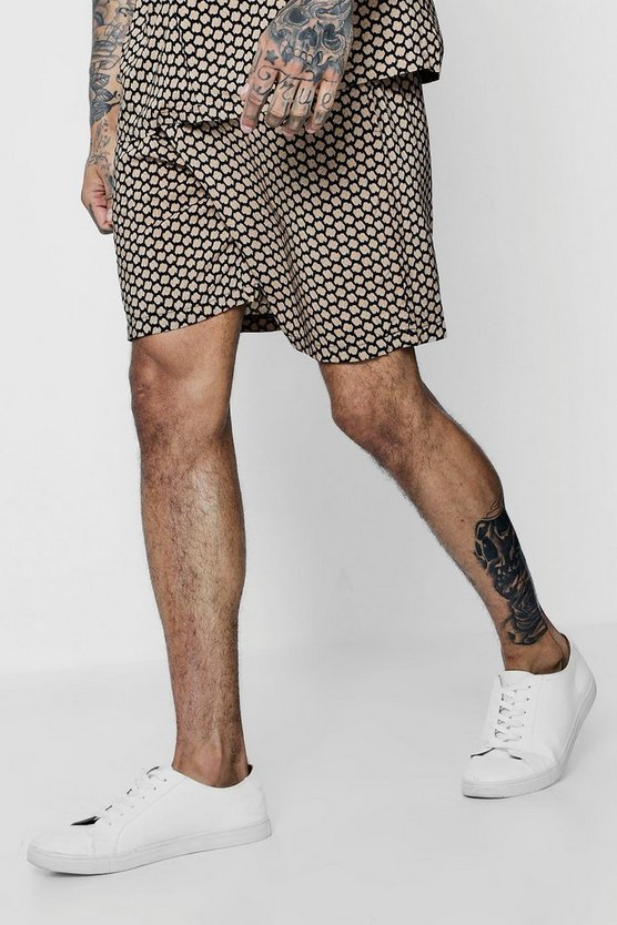 Mens Black Tribal Print Drawstring Waist Shorts