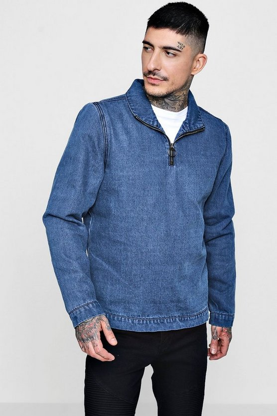 Funnel Neck Half Zip Denim Jacket
