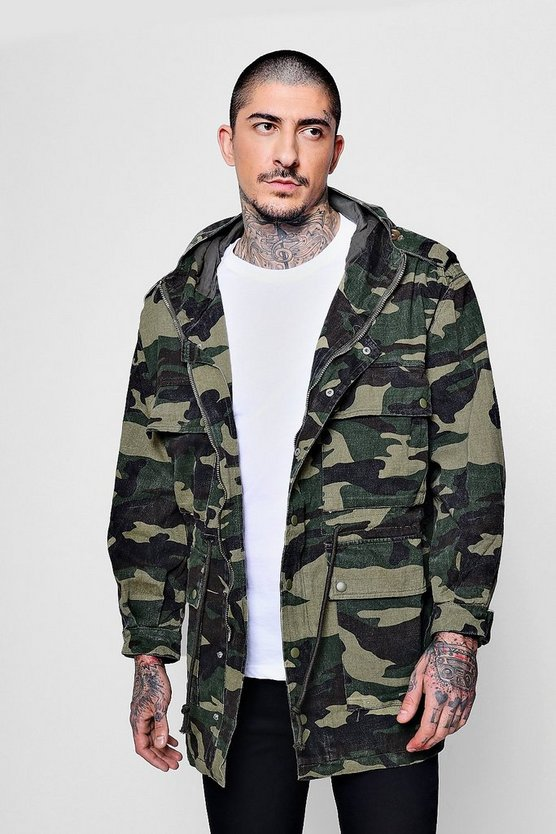Mens Camo 4 Pocket Hooded Camo Field Jacket