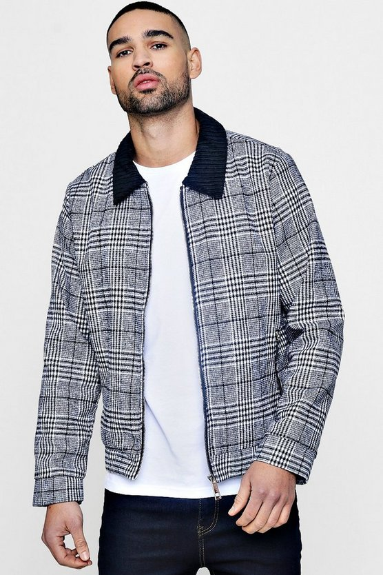 Black Cord Collar Prince of Wales Check Harrington