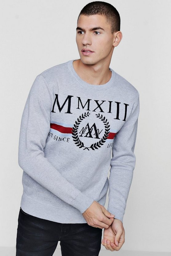 Mens Grey MAN Roman Numeral Intarsia Knitted Jumper