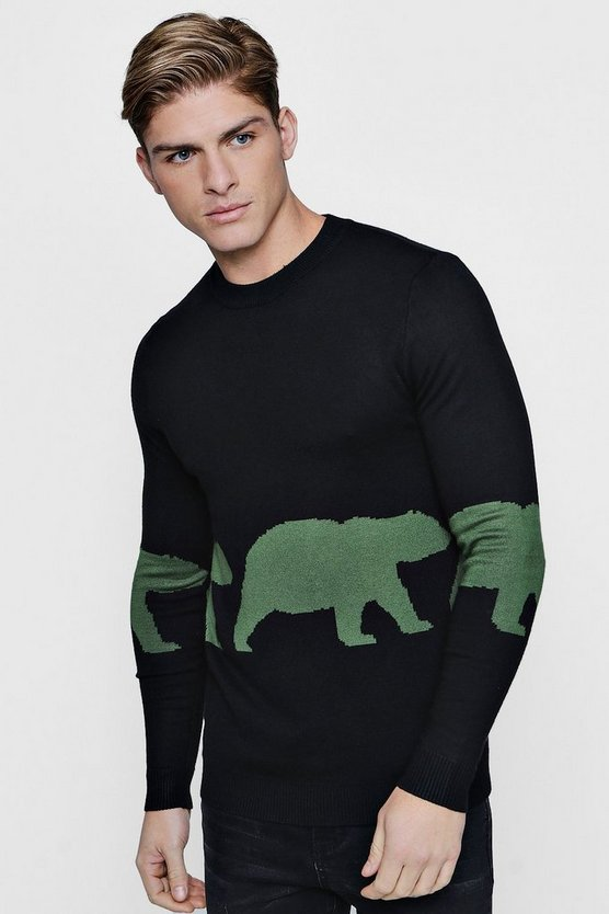 Bear Intarsia Knit Jumper, Black, HOMMES