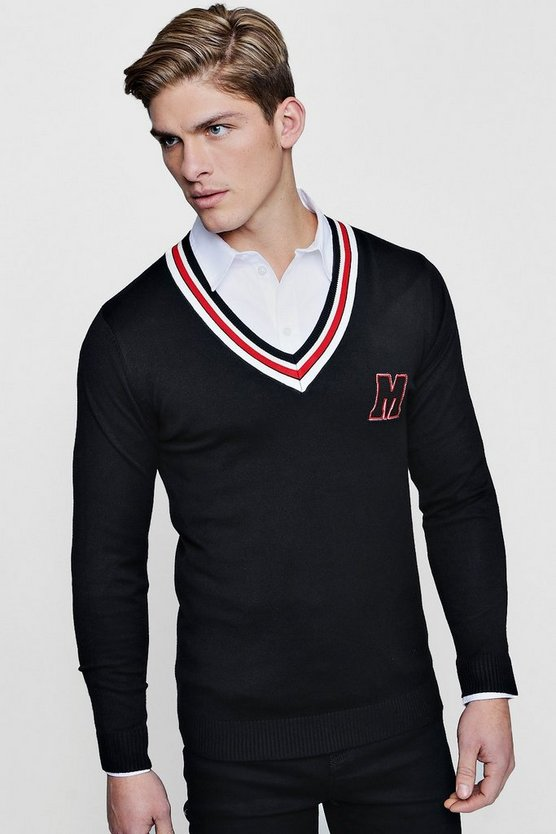 V-Neck Varsity Knitted Jumper