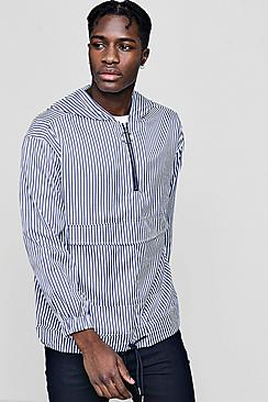 striped half zip hooded jacket