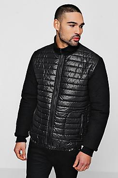 quilted body zip through jacket