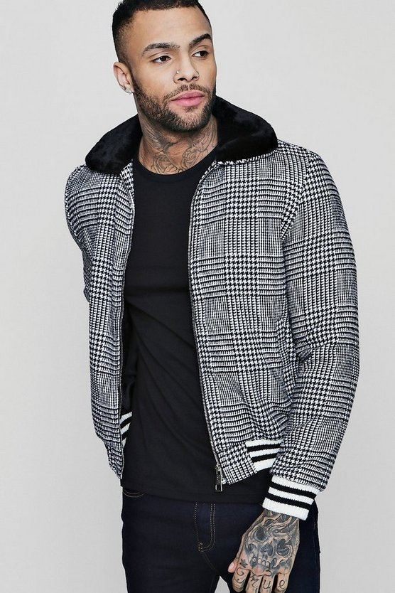 Faux Fur Check Harrington With Sports Rib