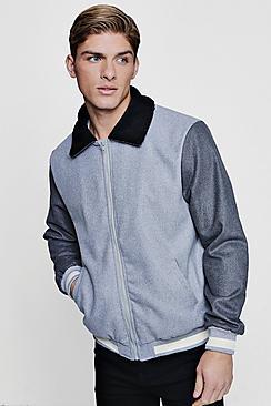 contrast sleeve borg collar varsity jacket