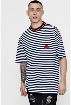 Mens Navy Oversized Rose Embroidered Stripe T-Shirt