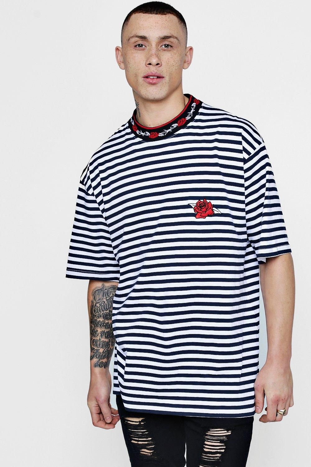 63265c7db Oversized Rose Embroidered Stripe T-Shirt - boohooMAN