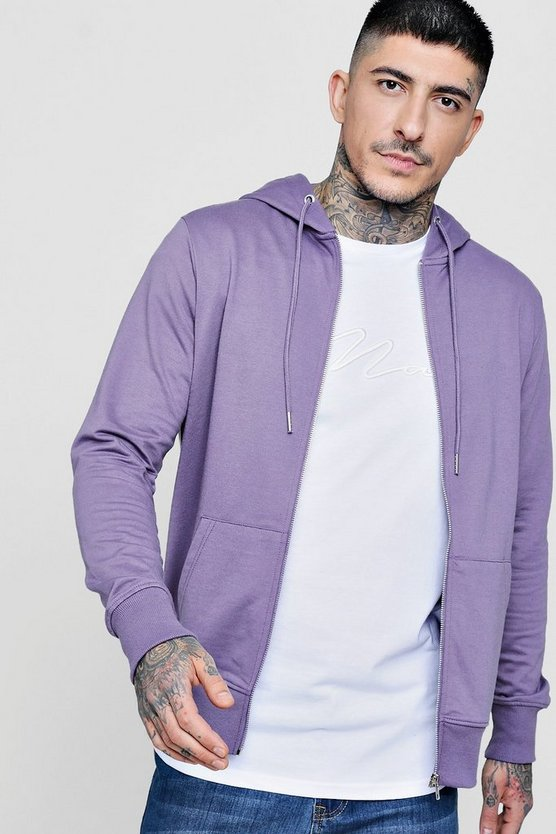 Mens Mauve Lightweight Basic Zip Through Hoodie