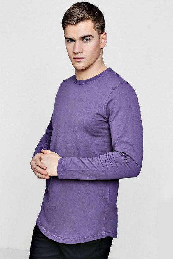 Mens Mauve Long Sleeve Longline T-Shirt with Curve Hem
