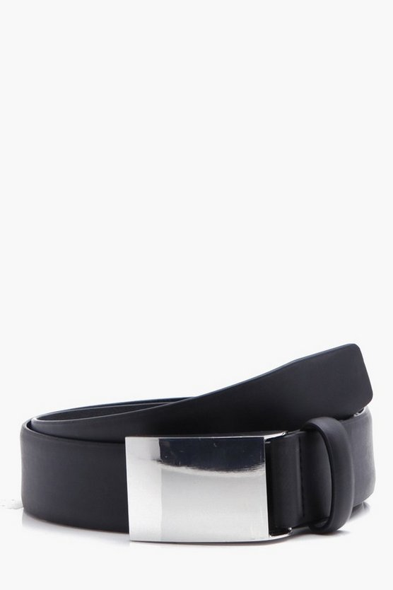 Mens Black Black Belt With Metal Plate Buckle