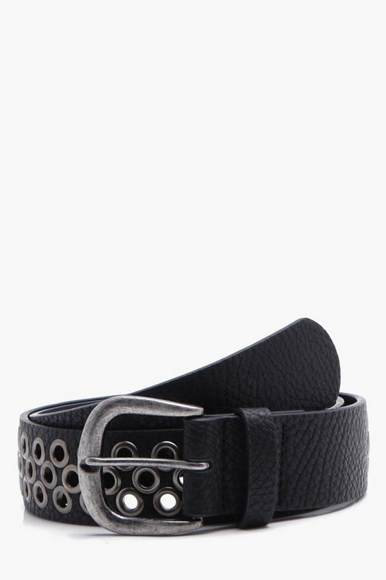 Black Belt With Eyelet & Gunmetal Edges