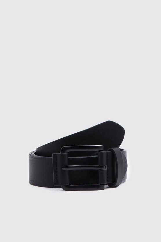 Black PU Belt With Matte Black Buckle