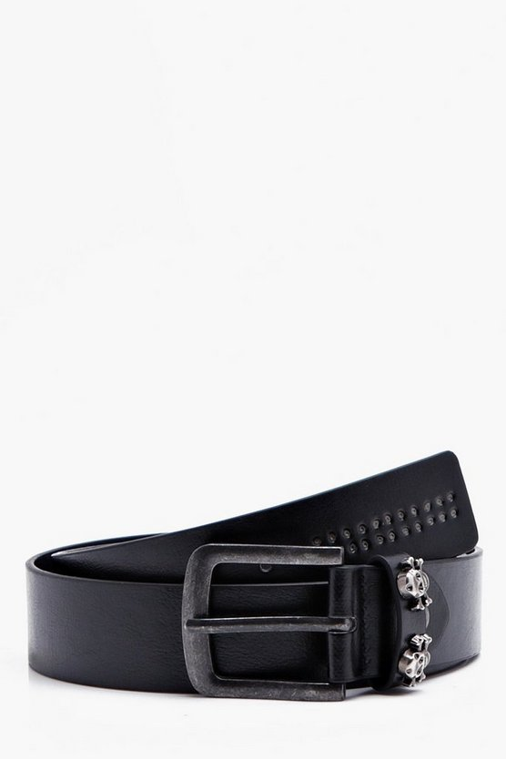 Black Punch Detail Belt With Skull Studs