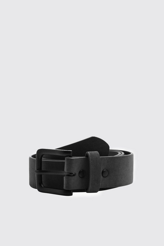 Mens Black Classic Belt With Matte Finish