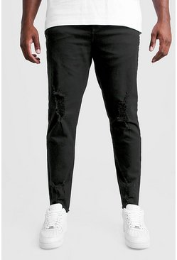 Black Big And Tall Skinny Jeans With Raw Hem