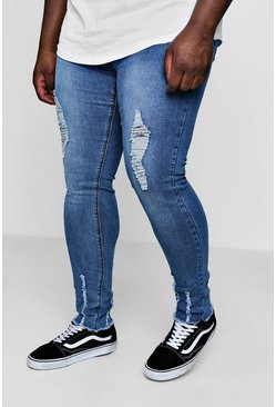 Mid blue Big And Tall Skinny Jeans With Raw Hem