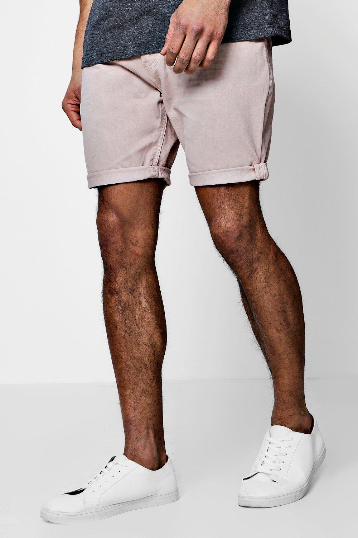 rosa algodón y dobladillo sarga con chinos cortos Pantalones oscuro volteado de Oq46xxgw