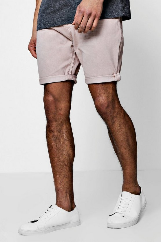 Cotton Twill Shorts With Turn Up Hem
