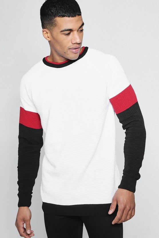 Colour Block Knitted Crew Neck Jumper